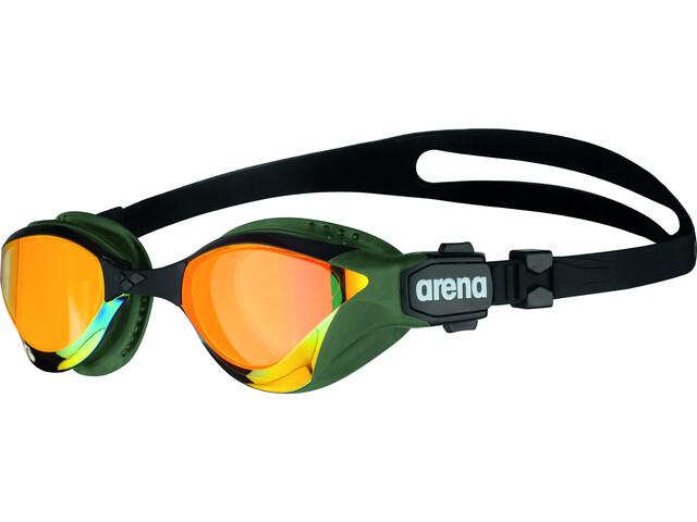 arena Cobra Tri Swipe Mirror Goggles yellow copper/army